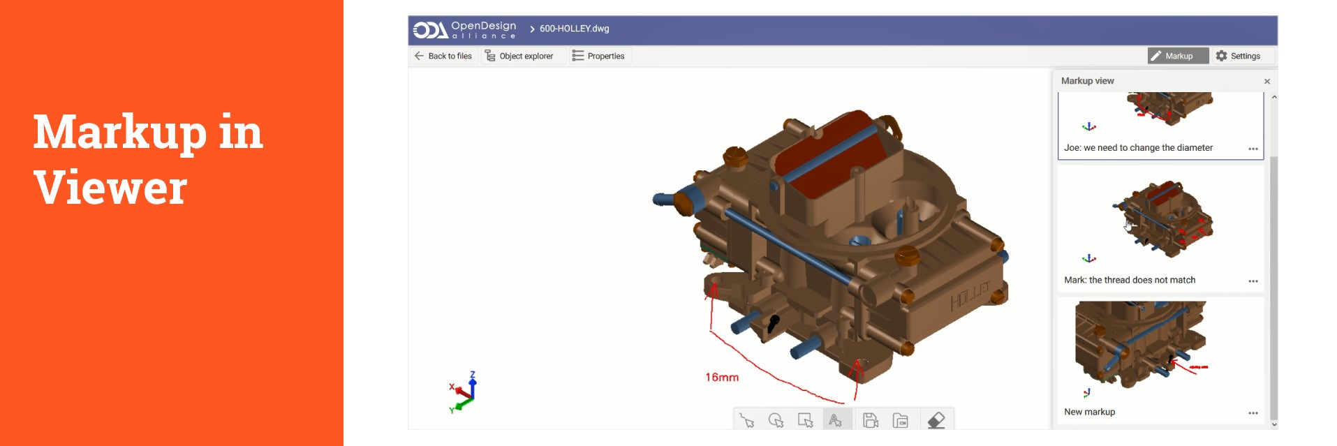 ODA BIM Suite supports markup editing of any CAD or BIM format  in one application, on desktop or browser