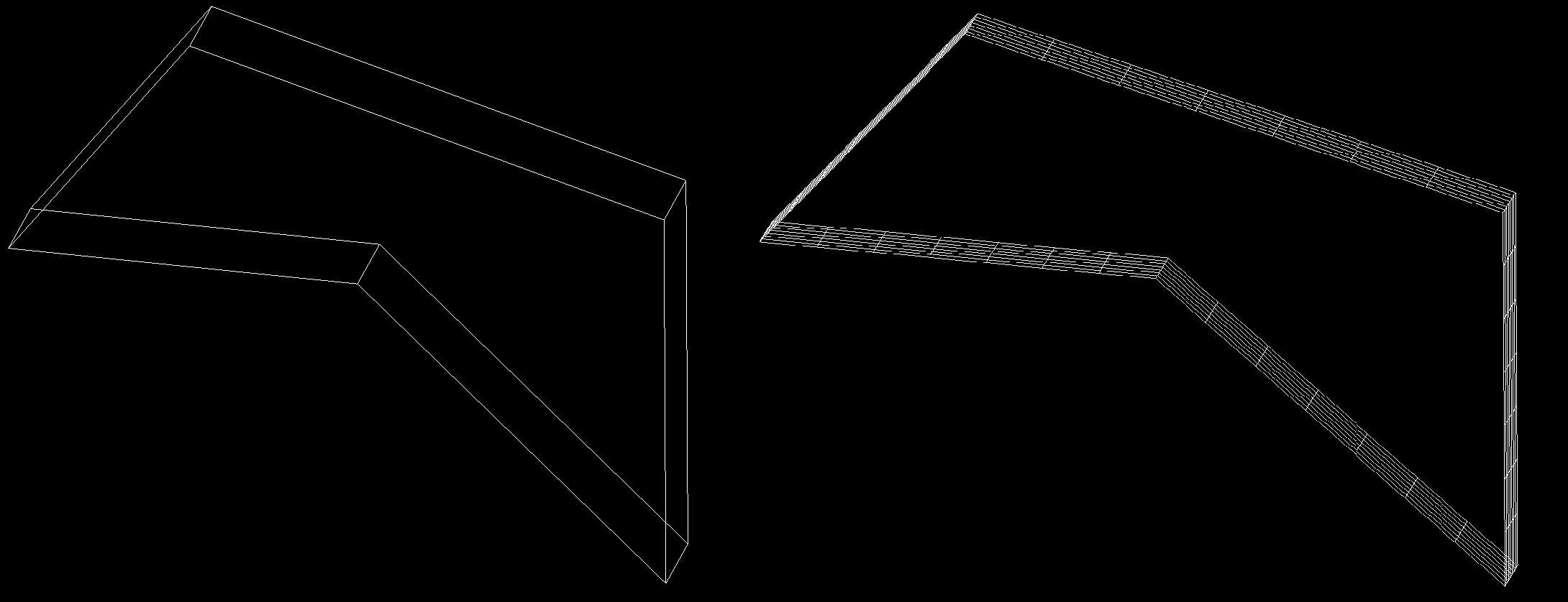 a closed polyline with thickness 2.0 before and after conversion to an extruded surface